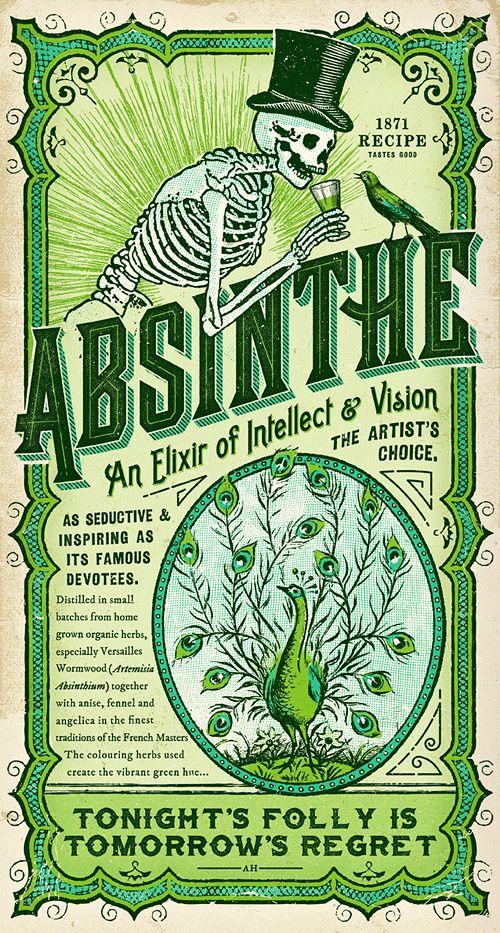 Absinthe, label, skeleton, skull, bird, blackbird, green, elixir in Packaging