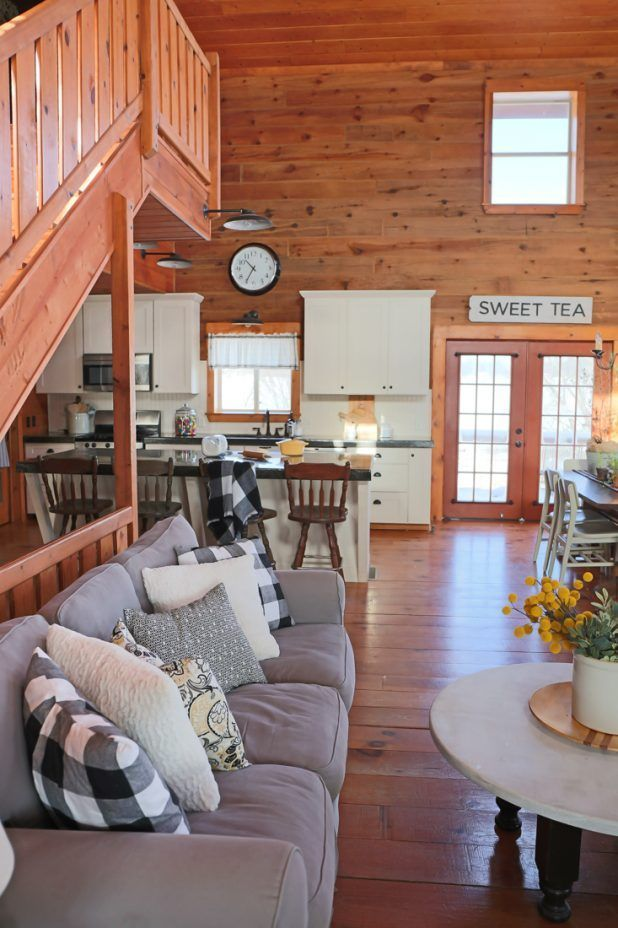 living room and kitchen of a log home white black gray and rh pinterest com