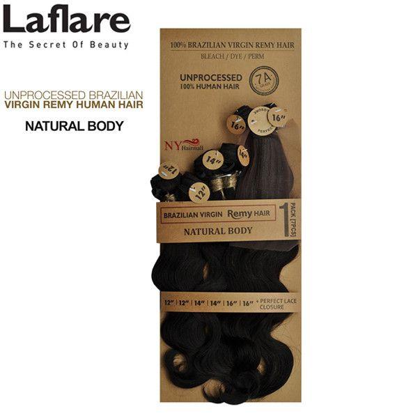 "LaFlare 100% Brazilian Virgin Remy Hair - NATURAL BODY 7PCS (18""+20""+22"")"