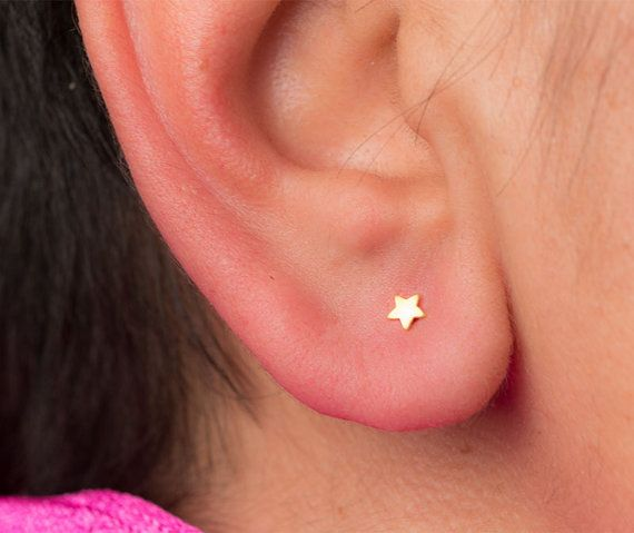 Extra Tiny Star Earrings Star Studs in solid Gold Post Earrings Stars minimal…