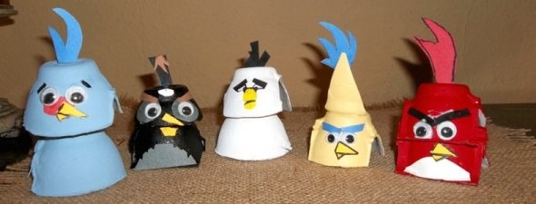 Angry Birds: Craft Using Egg Carton Sections