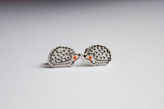 Hedgehog Earring Shrink Plastic Hand painted by acoupleofneaties, £4.00