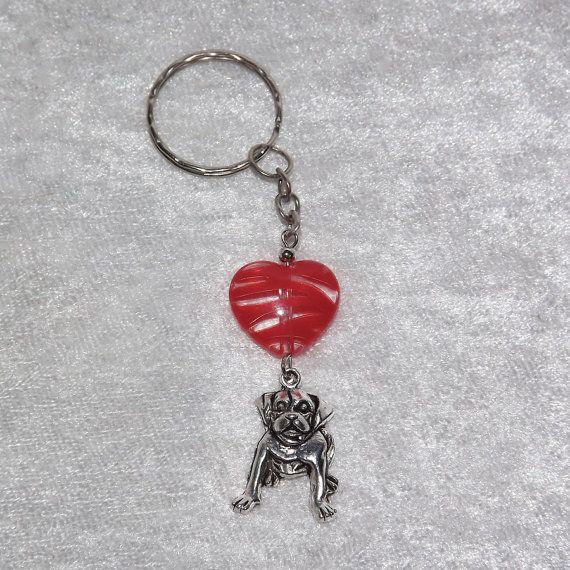 B.Long Striped Heart Labrador Keyring (Red) - Free UK P&P Dog / Animal / Love /  Dog-Lover / Funky / Sweet / Puppy / Retriever / Cute / Cool