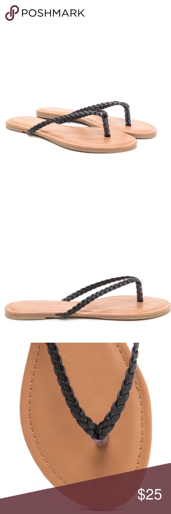 ✨Brand New✨ Faux Leather Braid Thong Sandal: Black ✨Brand New✨ Vegan leather flip-flops feature skinny braided straps and a ridged sole. ✨Brand name used for exposure: bought in a boutique in NYC brand: Misbehave.  Size: 8 in Black / True to size Man made materials Made in China Zara Shoes Sandals