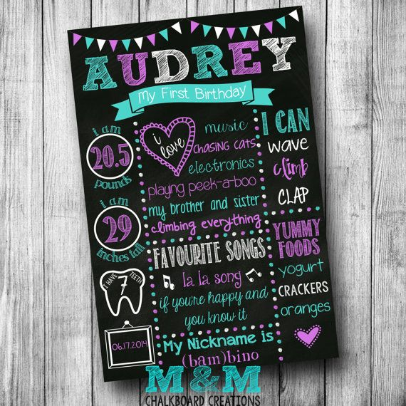 First Birthday Chalkboard Poster - Girl - Customized 1st Birthday Chalk board - Custom Printable Sign - Purple Teal White