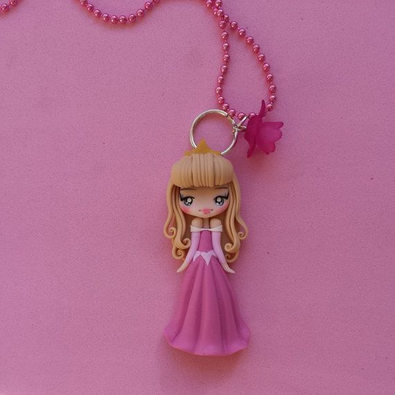 Princess Aurora Necklace the maleficent film fimo by Artmary2