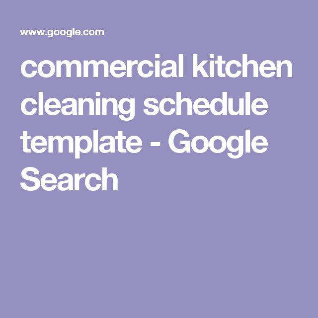 commercial kitchen cleaning schedule template - Google Search