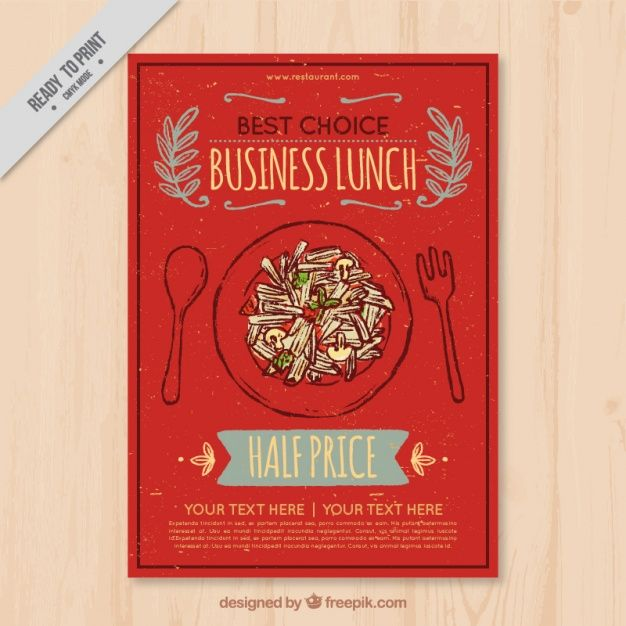 Hand Drawn Pretty Restaurant Brochure In Retro Style Free Vector
