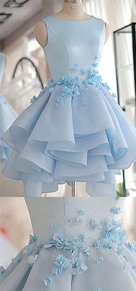Sky Blue Homecoming Dress,A-line Scoop Neck Prom Dress,Satin Tulle Short Flowers Original Prom Dresses,Mini Dress