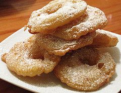 """appelflappen and oliebollen. dutch desserts :) mmmmmm!  I had these every new year with my parents. I sure miss them. Haven't had one in a long long time.   """"T"""""""