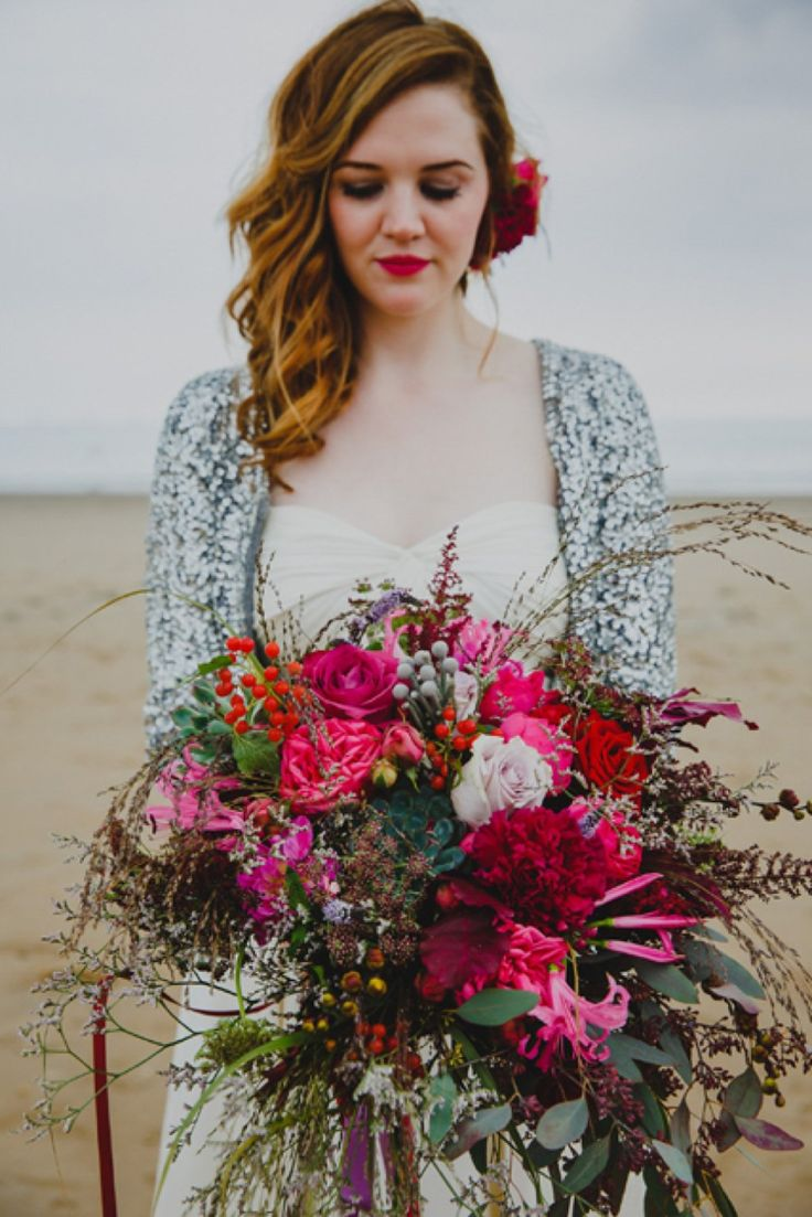 Aurea by Jenny Packham for a Bright, Colourful and Floral Inspired Wedding in Wales. What an amazing bouquet of pink and reds for romance.