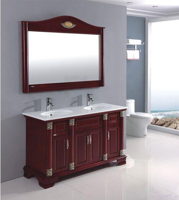 € 885,- Lambini Designs Rusti badmeubel - bruin - 2 kraangaten - 140cm (B) - 55cm (D) Complete meubelset incl. kranen en spiegel. #landelijk #nostalgisch #meubelset #meubel