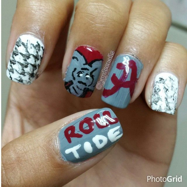 Alabama Roll Tide crimson grey & white nail art by nailit2me