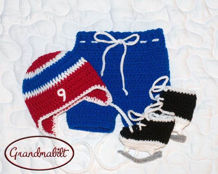 BABY HOCKEY BOY Montreal Canadiens pacifier not included, Baby Hockey Outfit, Crochet Hockey Outfit,Baby Knit Hockey Hat, Knit hockey Skates by Grandmabilt on Etsy