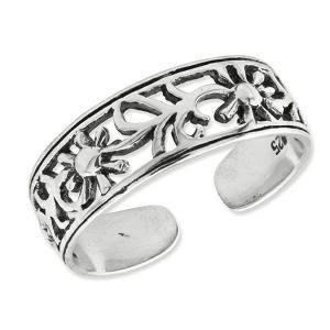 Sterling Silver Antiqued Floral Toe Ring - PG81665