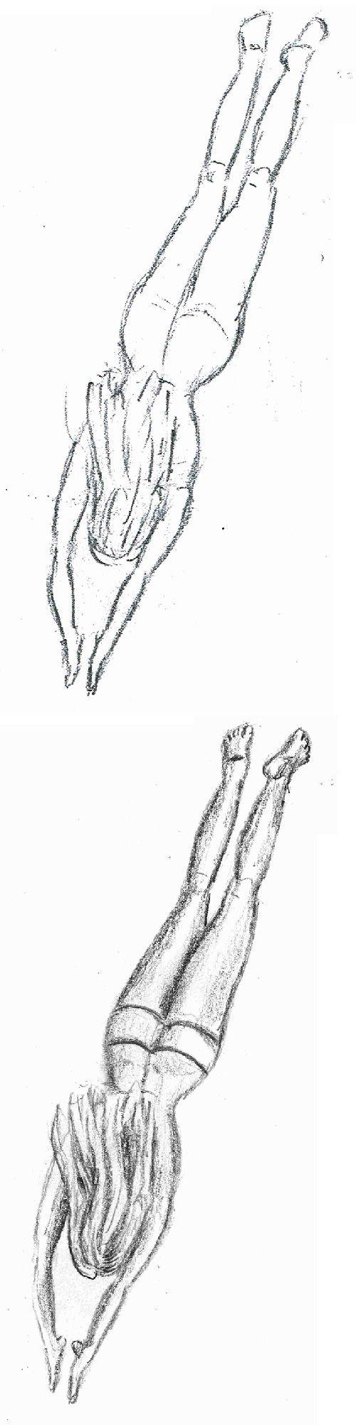 Een vrouw duikt in het water - schets met potlood - boven de ruwe vormen | onder de uitgewerkte tekening