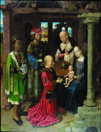 """Master of the Investiture of St. Ildefonso. """"Adoration of the Magi."""" Late 15th C. Oil on panel."""