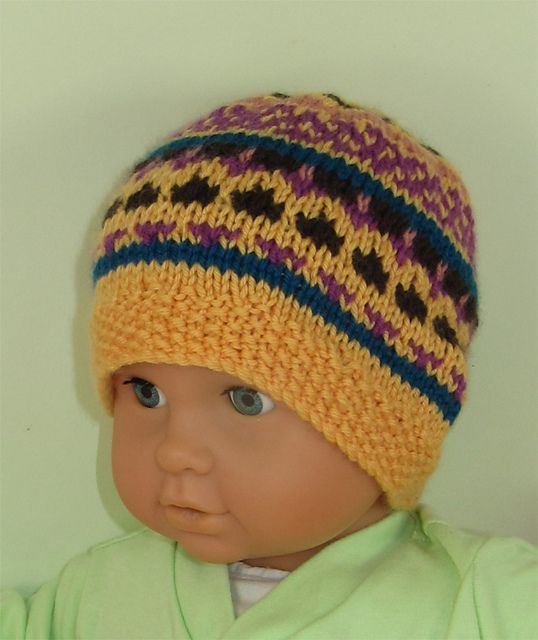 Baby And Toddler Simple Fairisle Beanie Hat Pattern By