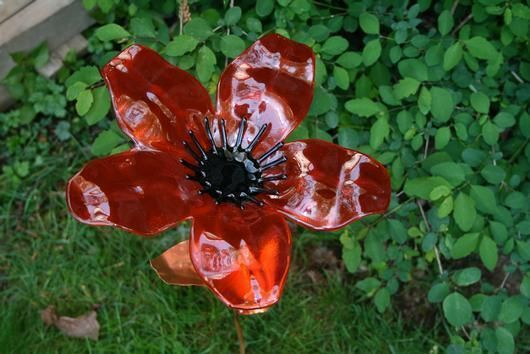 Fused Glass Flowers On Copper Stems By Dragonflies