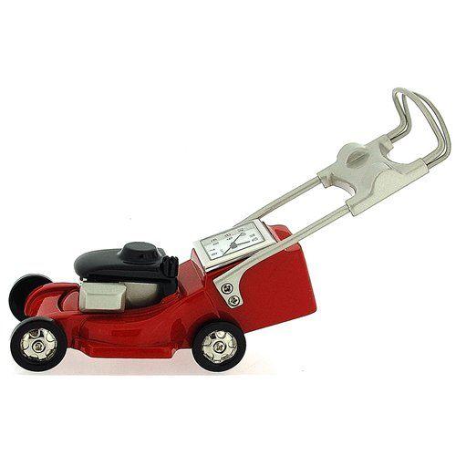Miniature Lawn Mower Novelty Red Black & Silver Ornamental Collectors Clock 0126