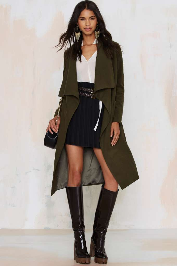 Lioness New York Minute Robe Coat in olive.  Also in grey and black.  Can function as a trench, or an easy extra layer of warmth over a blouse, mini skirt, and boots.  At #NastyGal, $120.00.  Perfect for milder winters in the south.  100% Polyester, machine-wash.