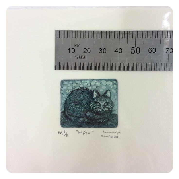 #intaglio #printmaking Etching, aquatint #cat www.anna-maija.fi