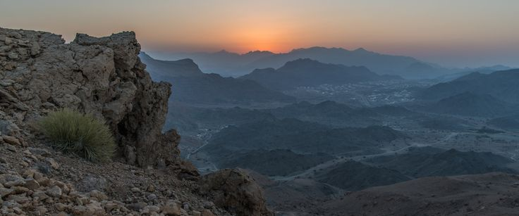 Setting Sun Over Town of Saal - Nearing the top of the Devil's Steps climb in Saal, Sultanate of Oman.
