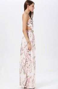Muiticolour Hibiscus Florals V-neck Spaghetti Straps Backless Maxi Dress -SheIn(Sheinside)