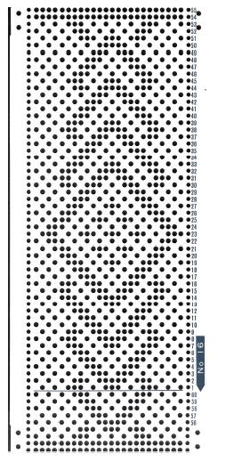Brother 820 Knitting machine Punchcard number 16  http://www.needlesofsteel.org.uk/
