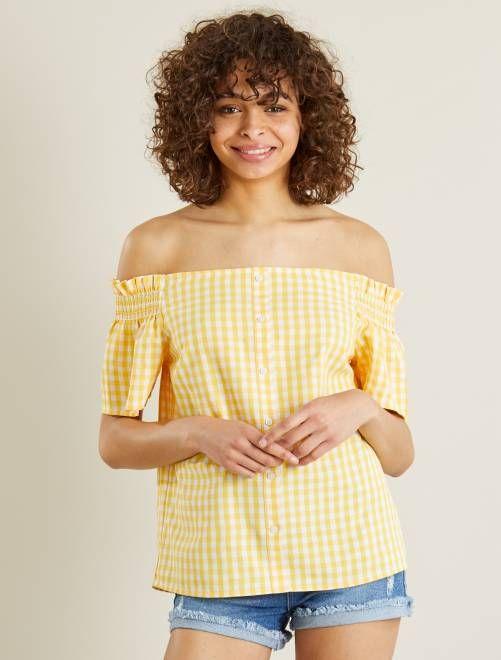 b92e552c56 Blusa vaporosa con cuello bardot amarillo Mujer - Kiabi