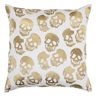 "Skull Pillow 24"" - Gold 