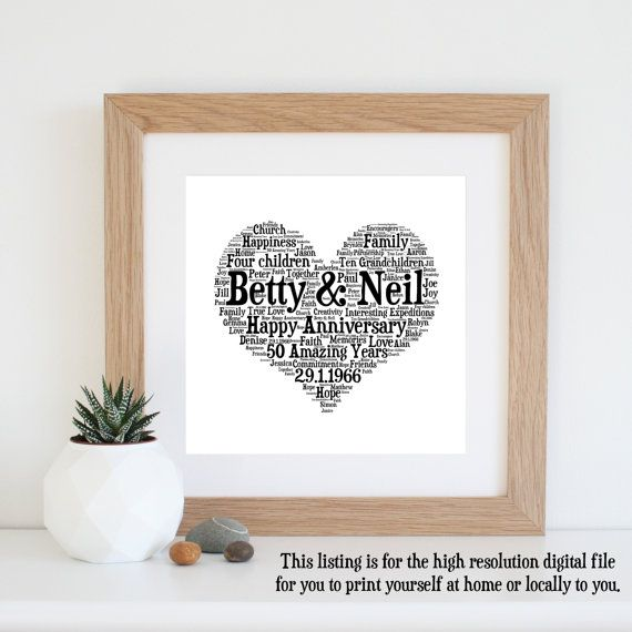 Personalised 50th WEDDING ANNIVERSARY GIFTS - Word Art - Printable Art - Golden Wedding Anniversary - 50th Anniversary Gifts for Parents
