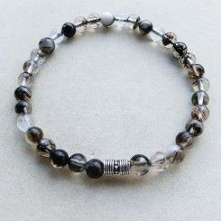 Bracciale elastico da uomo tormalina nera e argento indiano