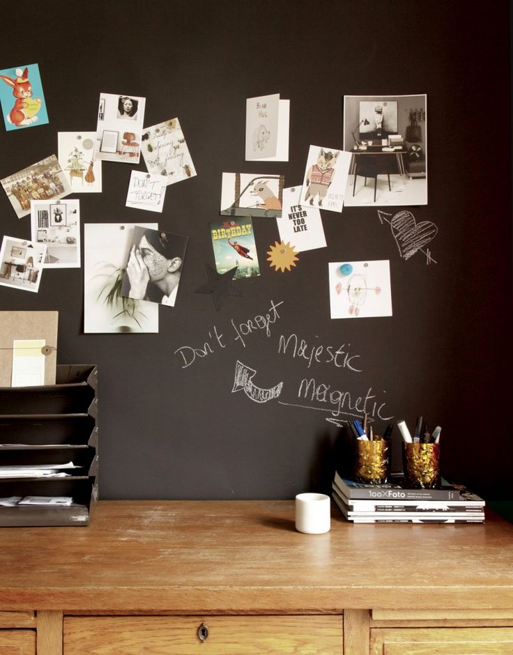 Magnetic Chalkboard Wallpaper - Finding this just made my week!