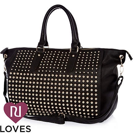Black studded holdall bag - shopper / tote bags - bags / purses - women - River Island