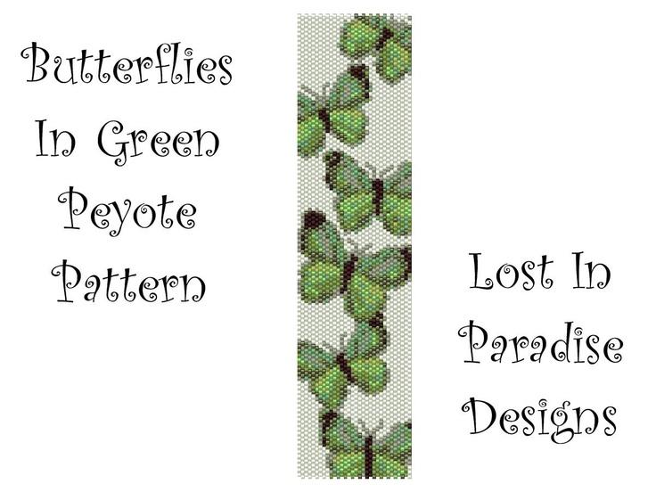 Peyote Bracelet Pattern - Butterflies in Green - Peyote Stitch Pattern (Buy 2 get one Free). $6.50, via Etsy.