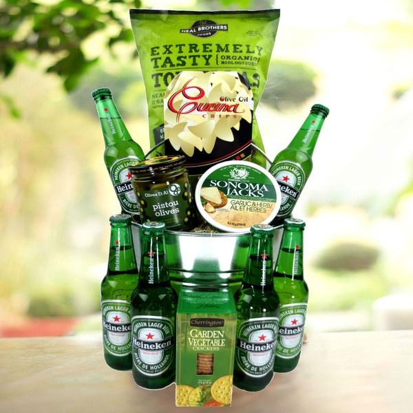Heinekin Gift Basket - Well it really is a bucket of beer!