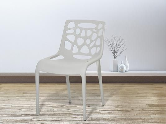 MORGAN White Plastic Garden Chair (Garden chair)