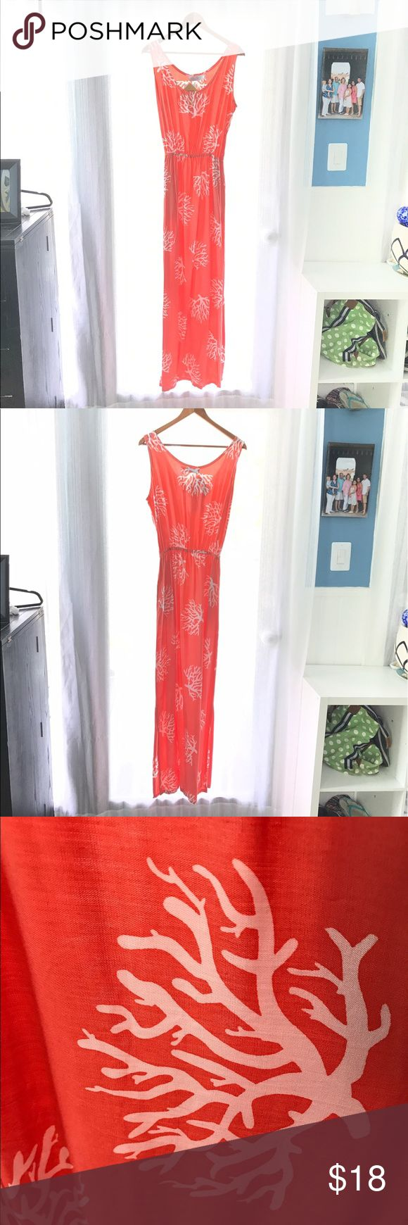 Tybee Island Clothing Co Coral Maxi Dress Tybee Island Clothing Co Coral Maxi Dress. Dress measures 60 inches. Coral design on coral fabric. Elastic waist. 100% rayon.  Perfect for the beach! Tybee Island Clothing Company Dresses Maxi