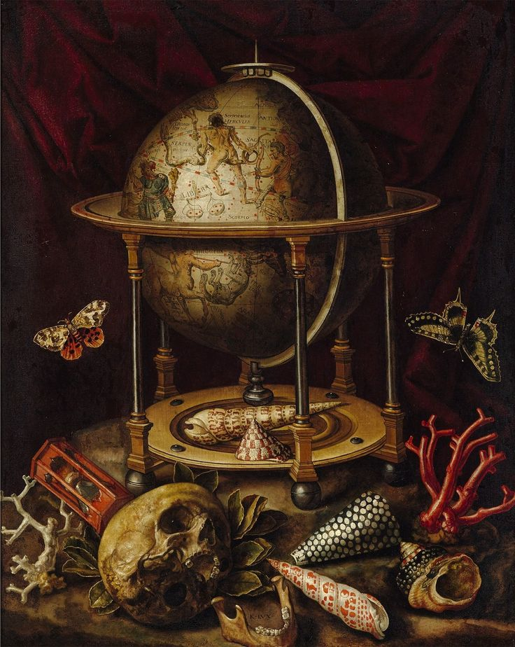 Vanitas - Still life with a celestial globe by Carstian Luyckx, ca. 1650 (PD-art/old), Zamek Królewski w Warszawie (ZKW)