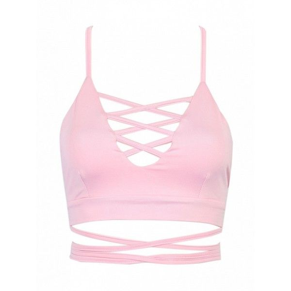 Choies Pink Lattice Strappy Back Cross Crop Top (17 AUD) ❤ liked on Polyvore featuring tops, pink, spaghetti-strap top, pink top, cross top, crop top and strap crop top