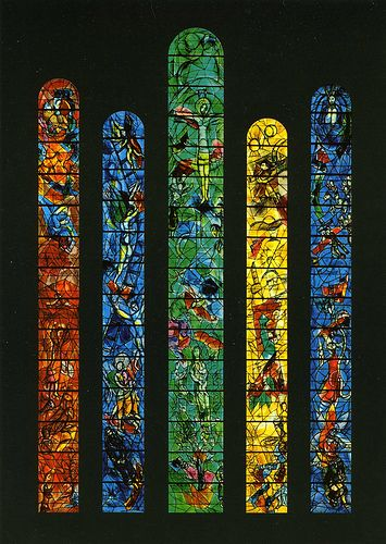 stained glass windows painted by Marc Chagall in the early 1970s depicting events from the old and new testament; Nice, France