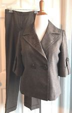 Josephine Brown Herringbone Pant Suit 3/4 Sleeve Jacket (8) Pants Cuff (10)