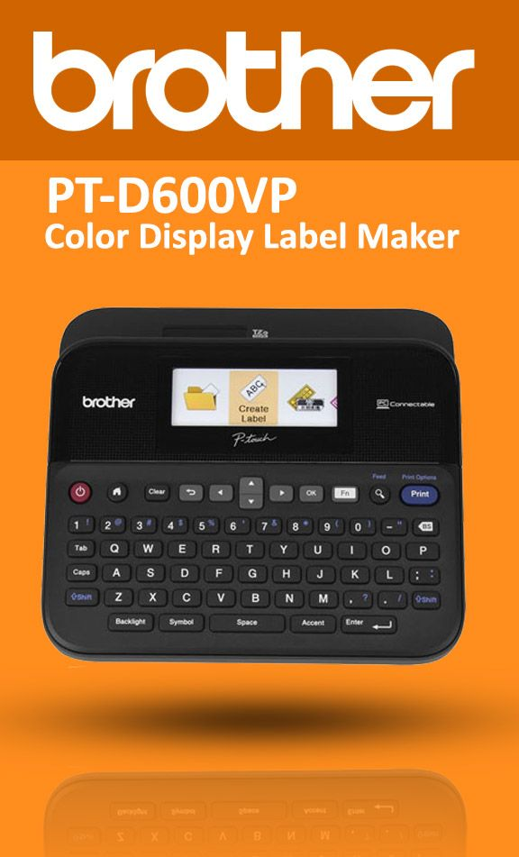 Brother PT-D600VP PC-Connectable Label Maker with Color Display  The Brother PT-D600VP is a fully loaded label maker that is perfect for use in an office or business environment. The PT-D600 VP features a full-color display with easy formatting menus; allowing you to preview labels before you print. Use the PTD600VP's built in keyboard to create your text, or connect to a computer for advanced formatting options.