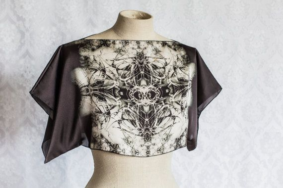 Abstract print satin top by KitsuneCoutureFI on Etsy