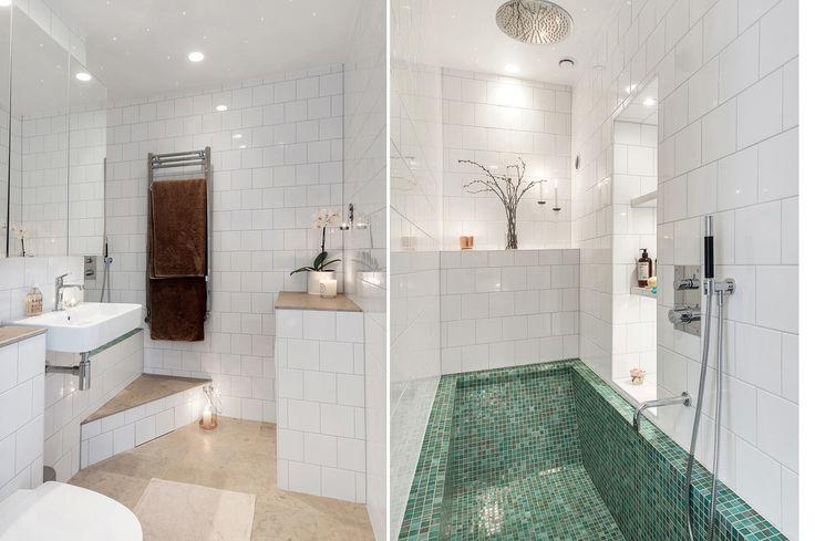 Built in bathtub in small smart bathroom