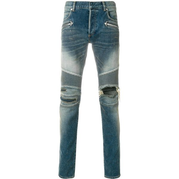 Balmain distressed skinny jeans ($1,550) ❤ liked on Polyvore featuring men's fashion, men's clothing, men's jeans, blue, mens distressed jeans, mens skinny jeans, embellish mens jeans, mens skinny fit jeans and mens super skinny jeans