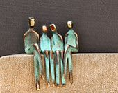 FAMILY OF FOUR >> Small bronze sculpture, family portrait. Boy and girl are exchangeable. By Yenny Cocq