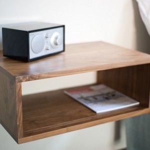 Mounted Bedside Table minimalist wall mounted wooden varnished slide bedside table