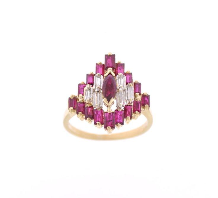 14K YELLOW GOLD VINTAGE ESTATE DECO RING W/ NATURAL RUBIES & DIAMONDS